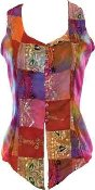 Embroidered Satin Patchwork Blouse